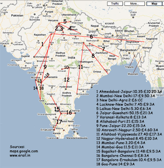 India Terrain Map plus rail costs to select destinations.