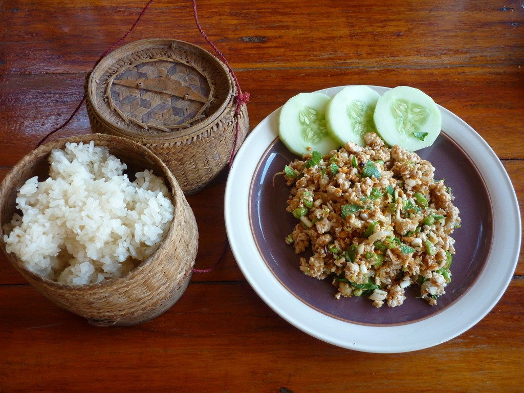 Laos chicken laap with sticky rice