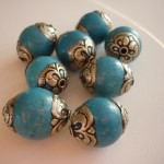 Small turquoise and stainless steel beads