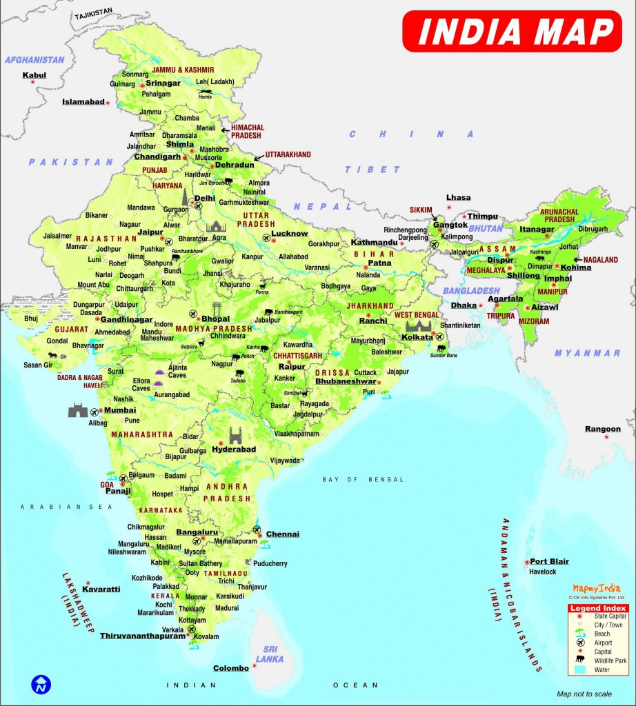 India Map with places to visit