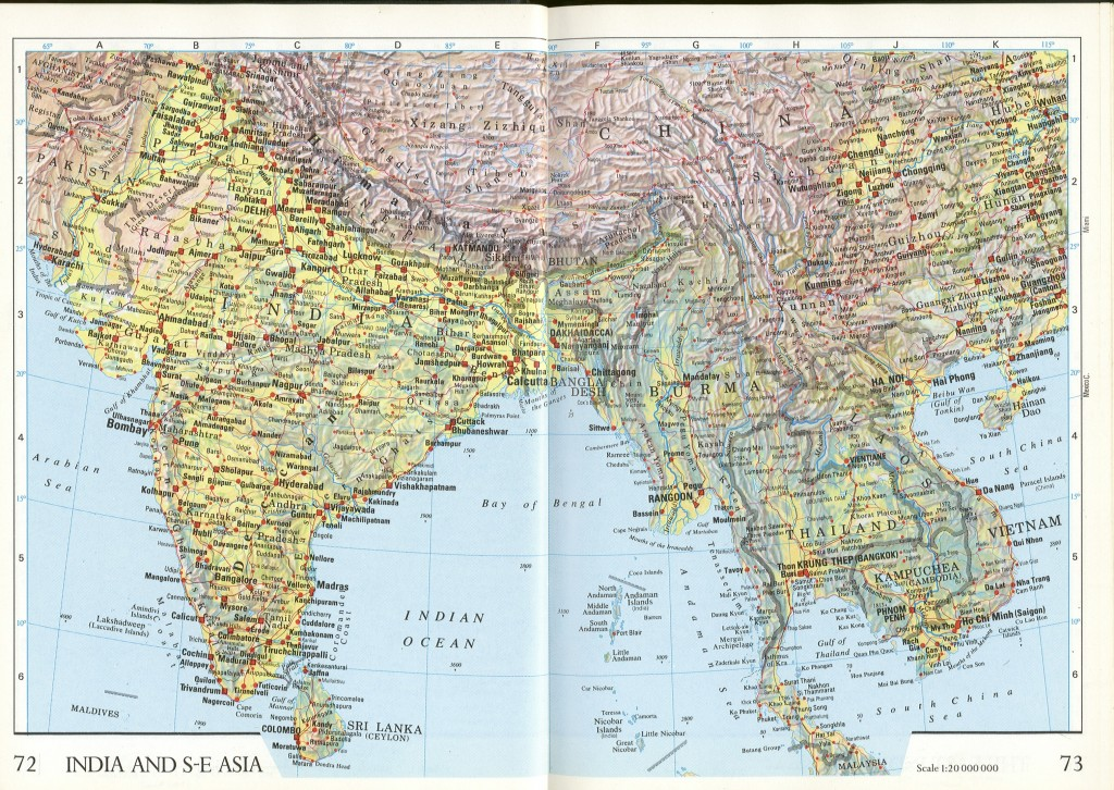 India and SE Asia geographical map