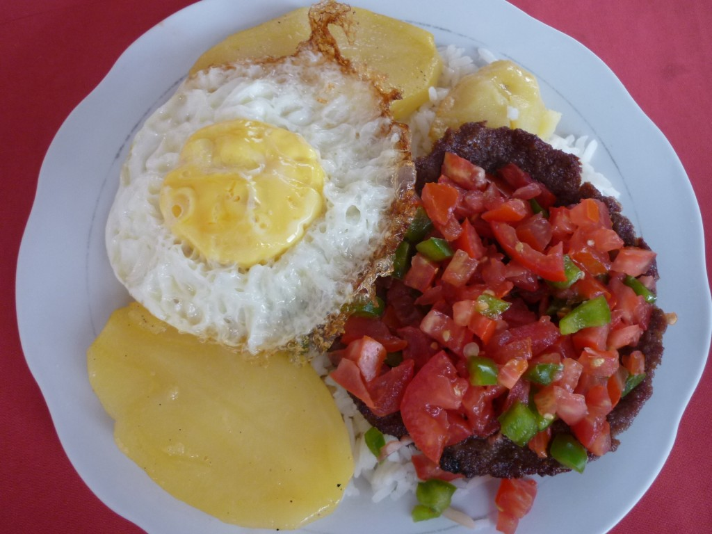 Bolivian Lomo Montado fried pork steak and egg
